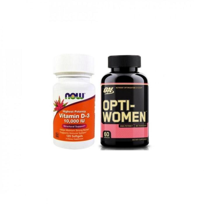 Vitamina D3 10,000 IU 120 Cápsulas + Multivitamínco Opti-Women 60 Cápsulas (0)