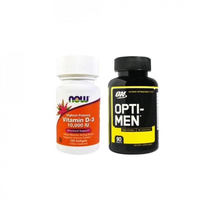 Vitamina D3 10,000 IU 120 Cápsulas + Multivitamínico Opti-Men 90 Cápsulas (0)
