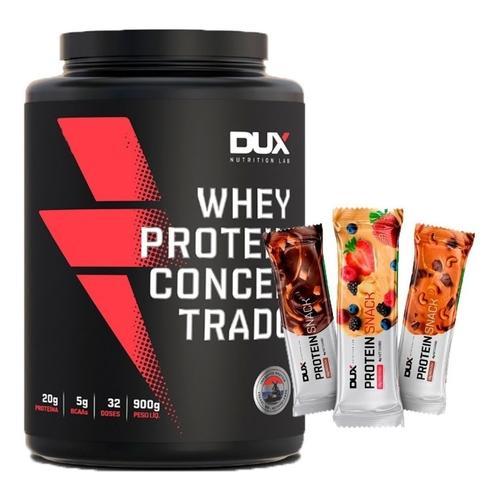 Whey Protein Concentrado 900g + 3 Protein Snack Sortidas – Dux Nutrition  (0)